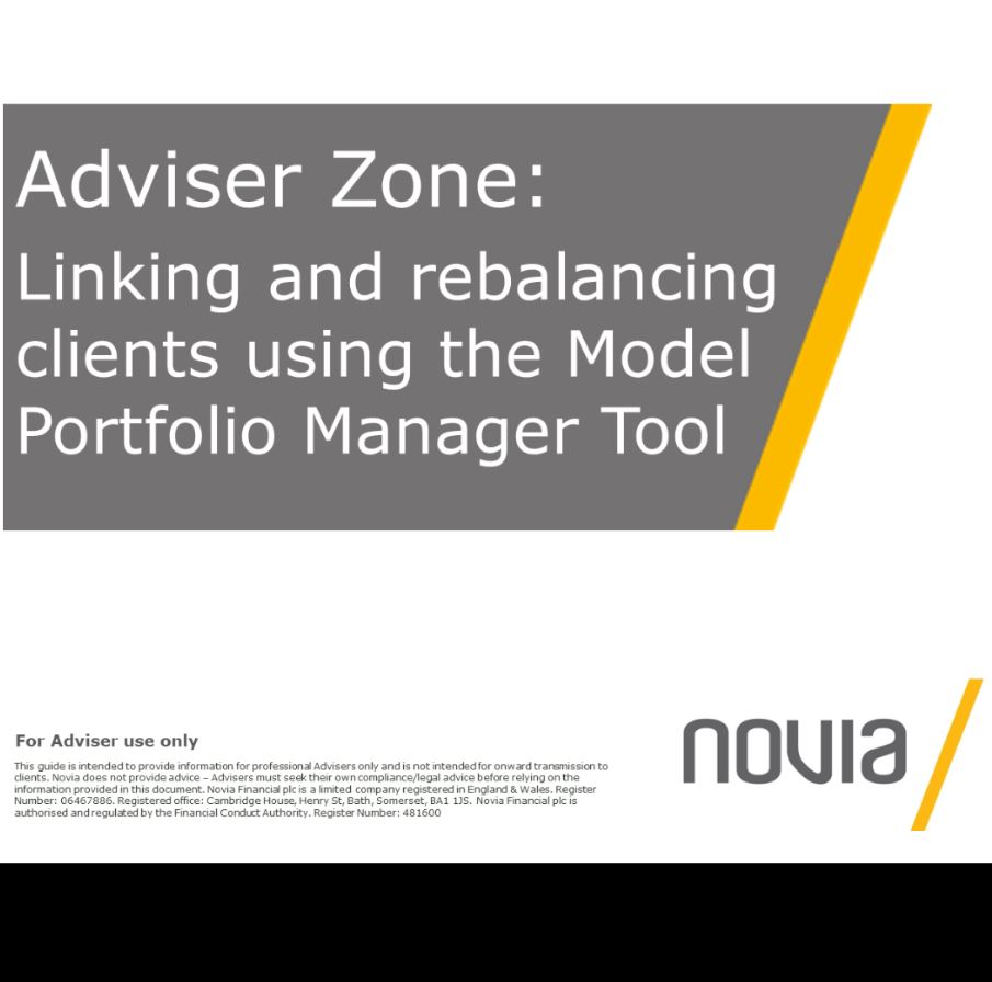 Linking and Rebalancing Using Model Portfolio Manager
